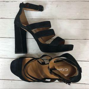 COACH Marina Black Lux Suede Strappy Sandals Sz 10